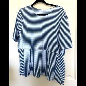 J Jill blue white stripe T shirt